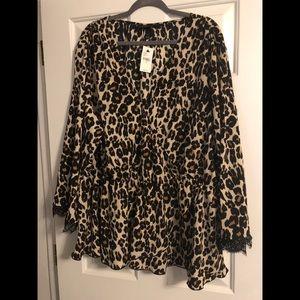 Leopard faux wrap top